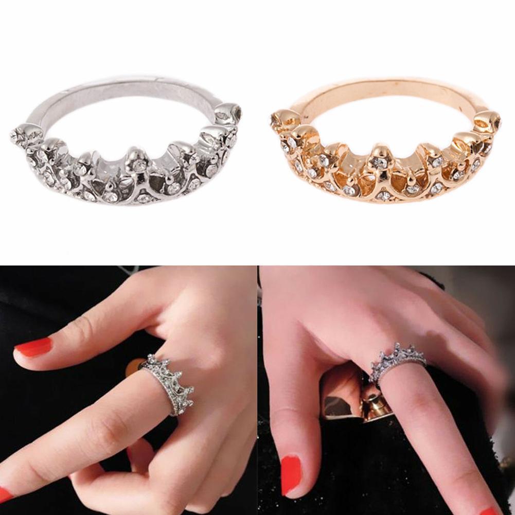 Frauen Romantische Silber Kristall Liebe Herzförmige Schmuckg S5E4 Ring Hoc D3U2