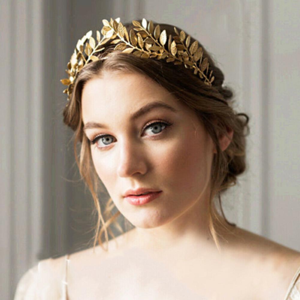 Headband Goddess Leaf Flower Girl Hair Crown Head Piece Gold Silver Band Bridal