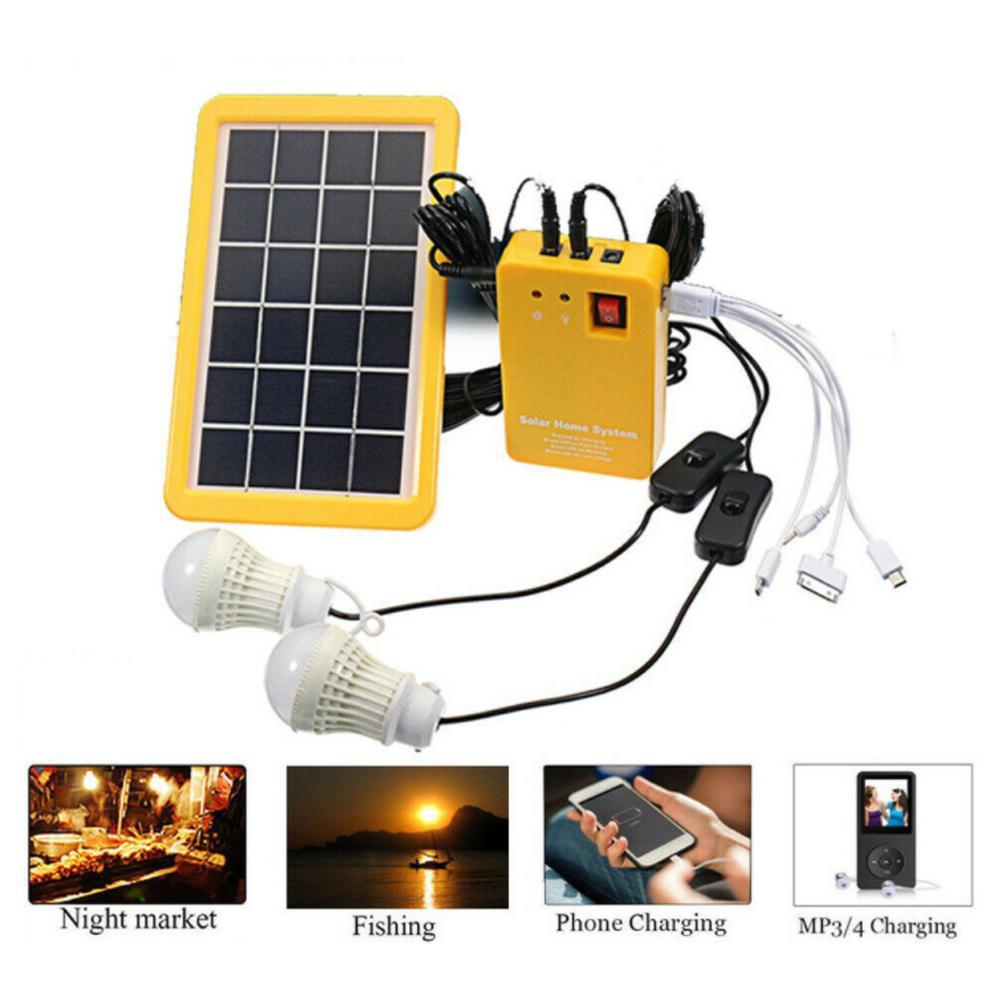 Details About Solar Panel Generator System Portable Home Kit Led Light 12v Usb Charger Camping