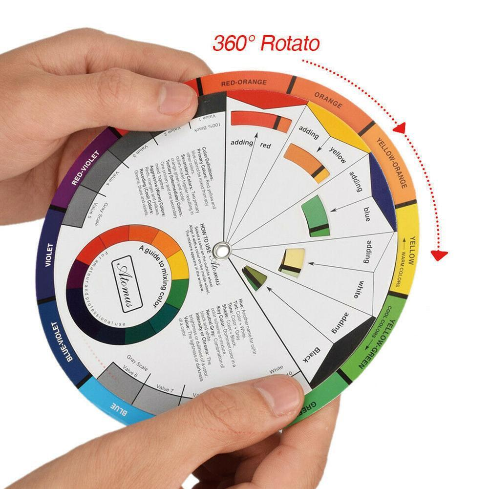 1x14cm Portable Color Wheel Mixing Guide For Tattoo Painting Supply Makeup E6T1