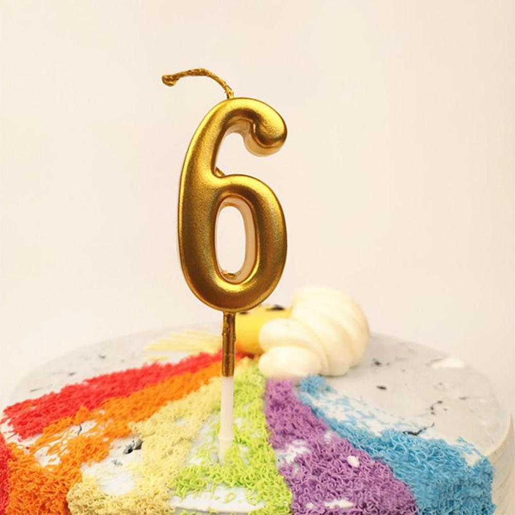 Quality Smokeless Shinny Gold Digital 0-9 Birthday Cake Candle Party Accessories