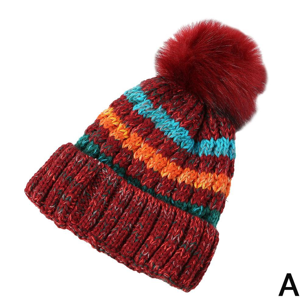 Mens Womens Cable Knitted Bobble Hat Plain Beanie Warm Winter Wife Hat