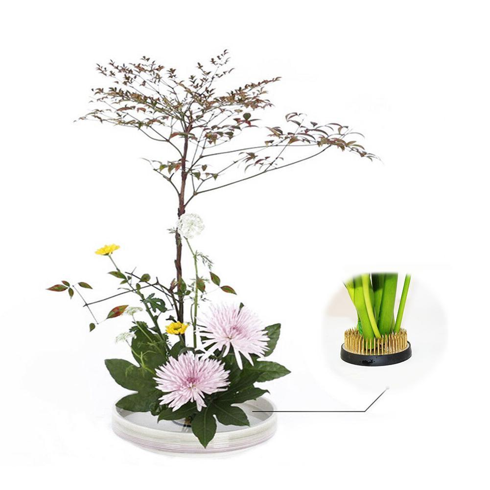 Round Ikebana Kenzan Flower Art Fixed Arranging Tools With Rubber Gasket MA