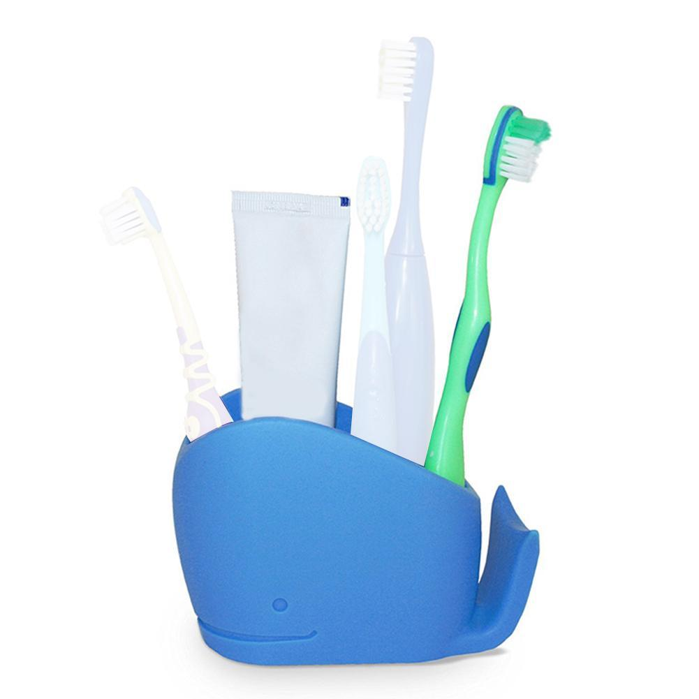 Home Portable Toothpaste Storage Stand Bathroom Silicone Whale Toothbrush Holder