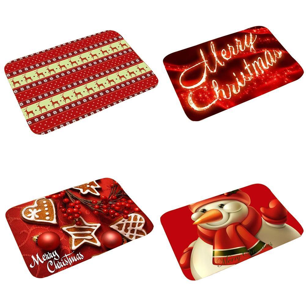 Christmas Santa Claus Elk Mat Carpet Floor Non Slip Home