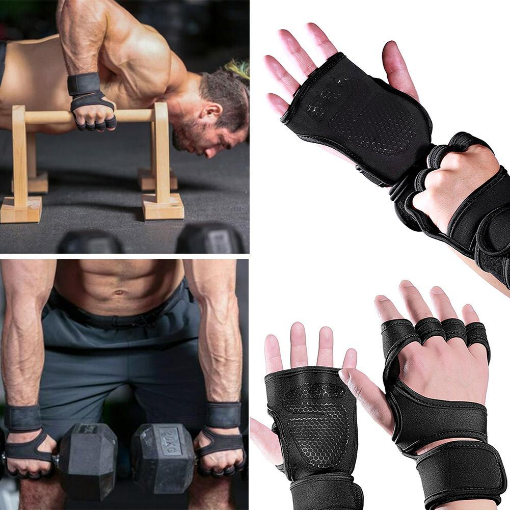 1 Pair Weight Lifting Non-Slip Grip Pads Palm Protection Gym Fitness Black