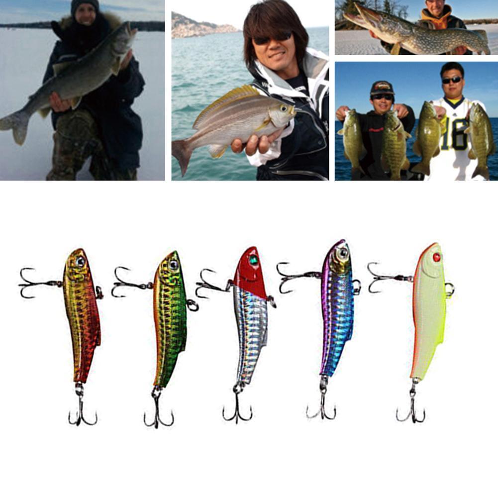 5Pc Fishing Lures Winter Ice Sea Sinking Hard VIB Bait G Jig Swivel Z5G4 Di W8H6