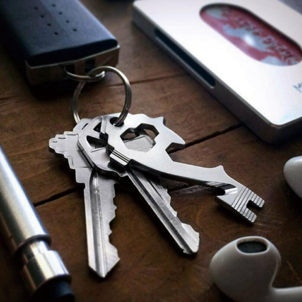 20-In-1 Outdoor Survival EDC Gear Carabiner Keychain Bottle Opener Multi Kit NEW
