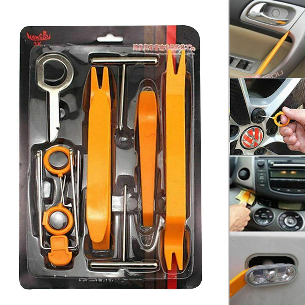 12Pcs Universal Plastic Steel Car Radio Door Clip Panel Removal Pry Repair Tool