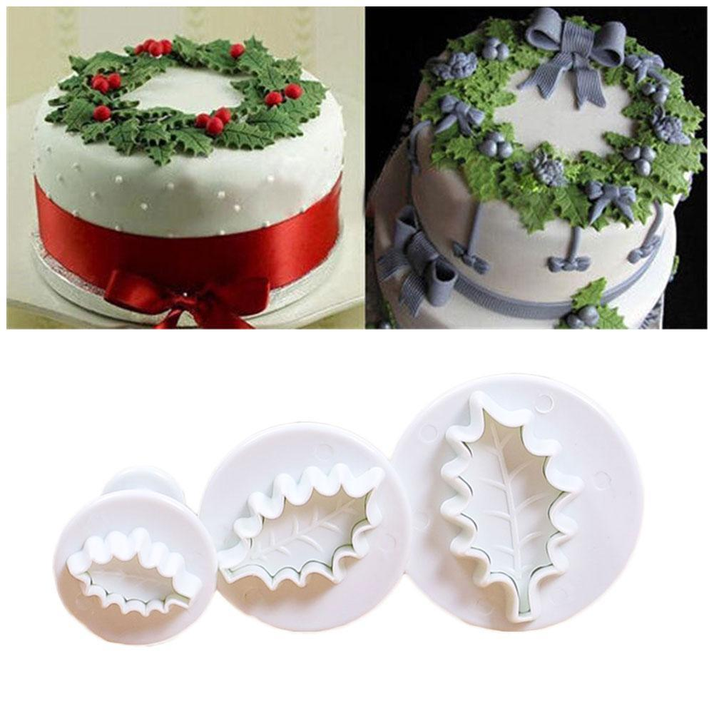 3pcs Holly Leaf Cake Cookie Sugarcraft Fondant Decor Plunger Cutters Mould