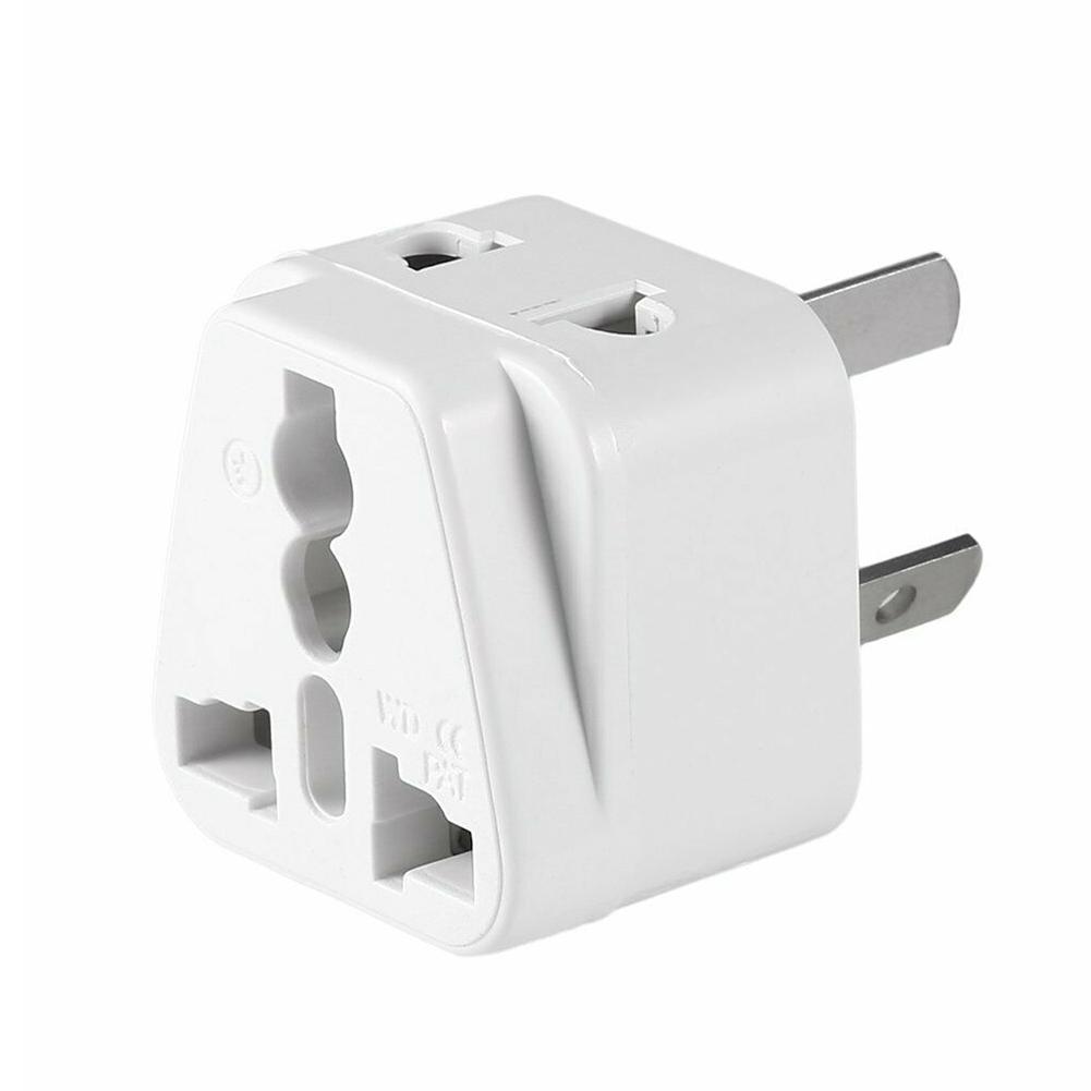 White Small Compact and Lightweight 2 pin AC American USA Power Plug Adapter Travel Converter Australia UK USA EU