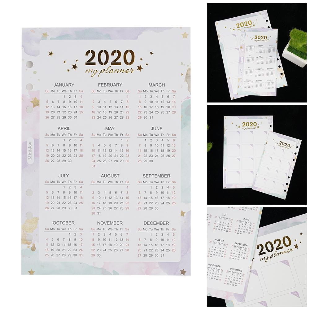 Index Divider For 6 Holes Diary Binder Weekly Planner 2020 Year Calendar U6W4