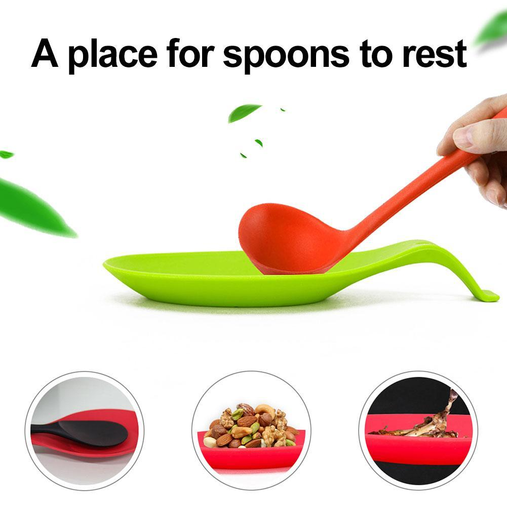 Cy/_ Silicone Spoon Rest Heat Resistant Kitchen Utensil Spatula Mixer Pad Mat Hol