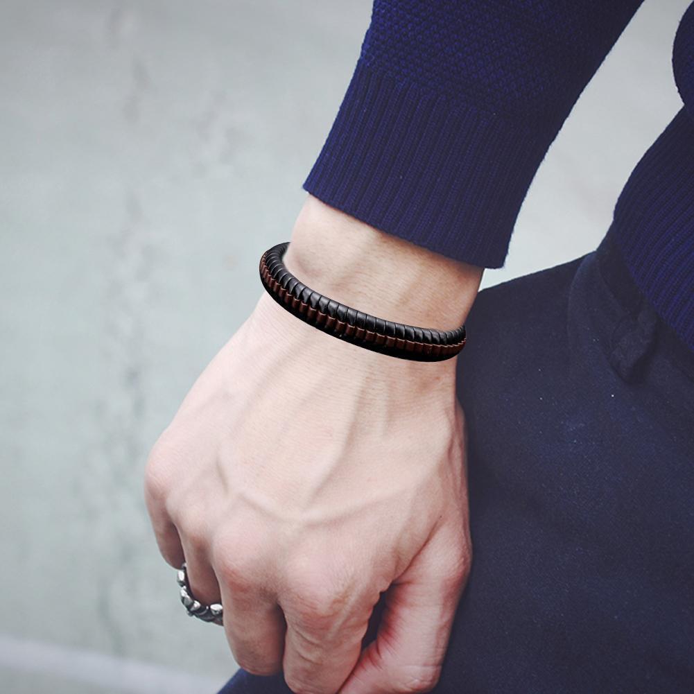 Neue Mode Leder Wrap geflochtenes Armband Manschette Punk Männer Armband J1