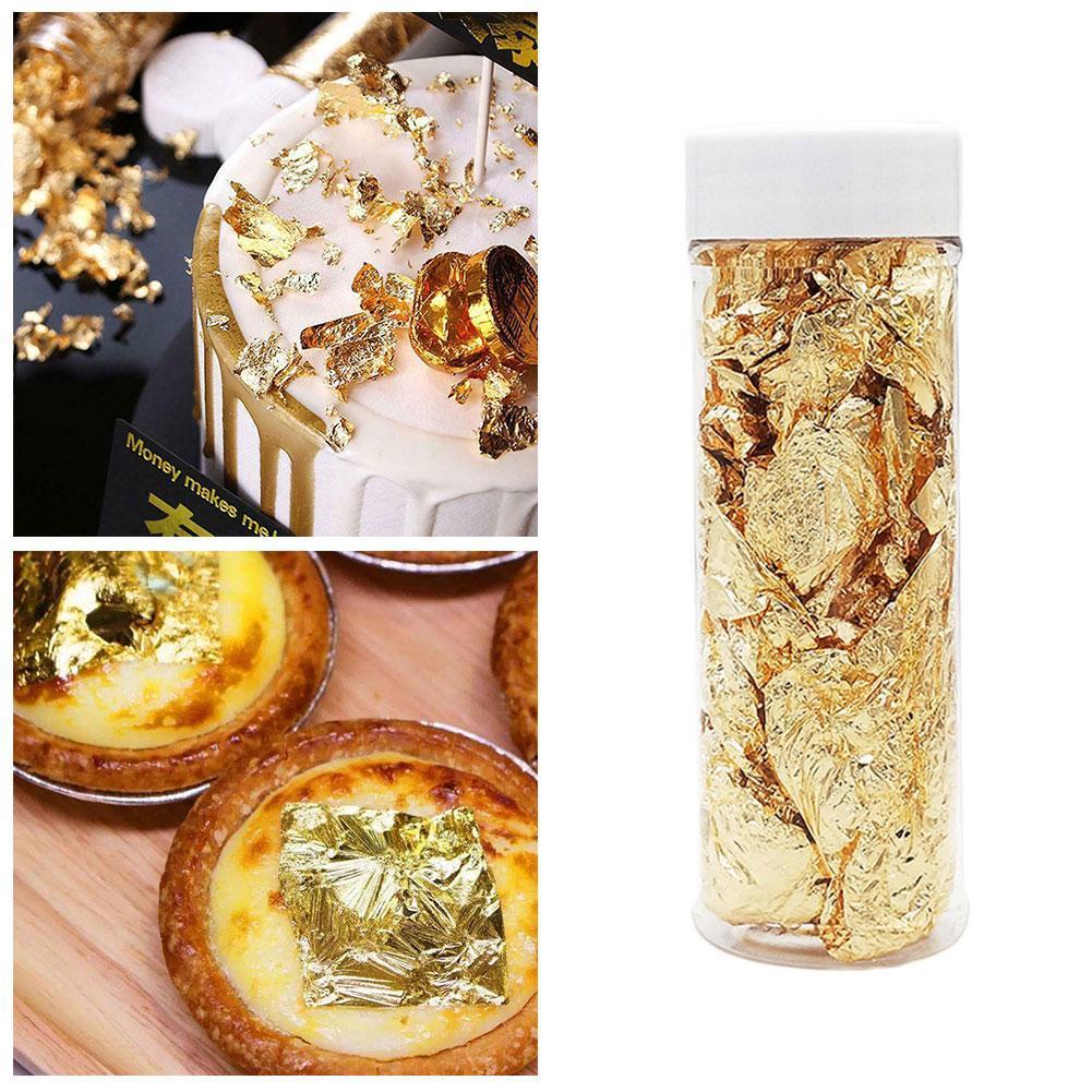 1x 2G Edible Gold Leaf Foil Cooking Drink Food Dessert Decoration Cake T6T7