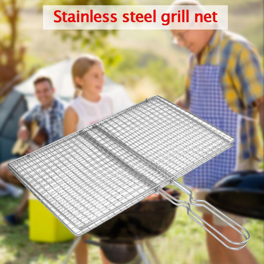 Stainless Steel Mesh Folder Grill Fish Rack Barbecue Net Accessories