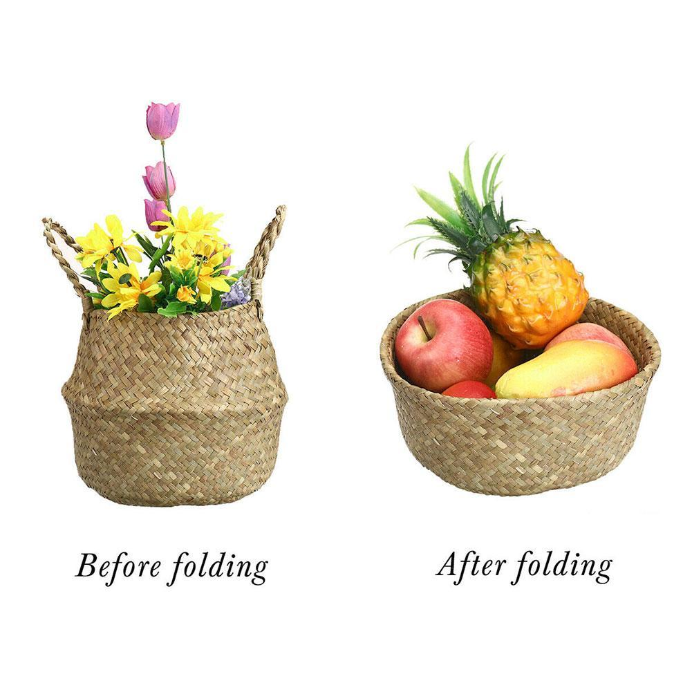 Seagrass Wicker Basket Foldable Nursery Plant Pot Storage Laundry Bag Decor I1G8