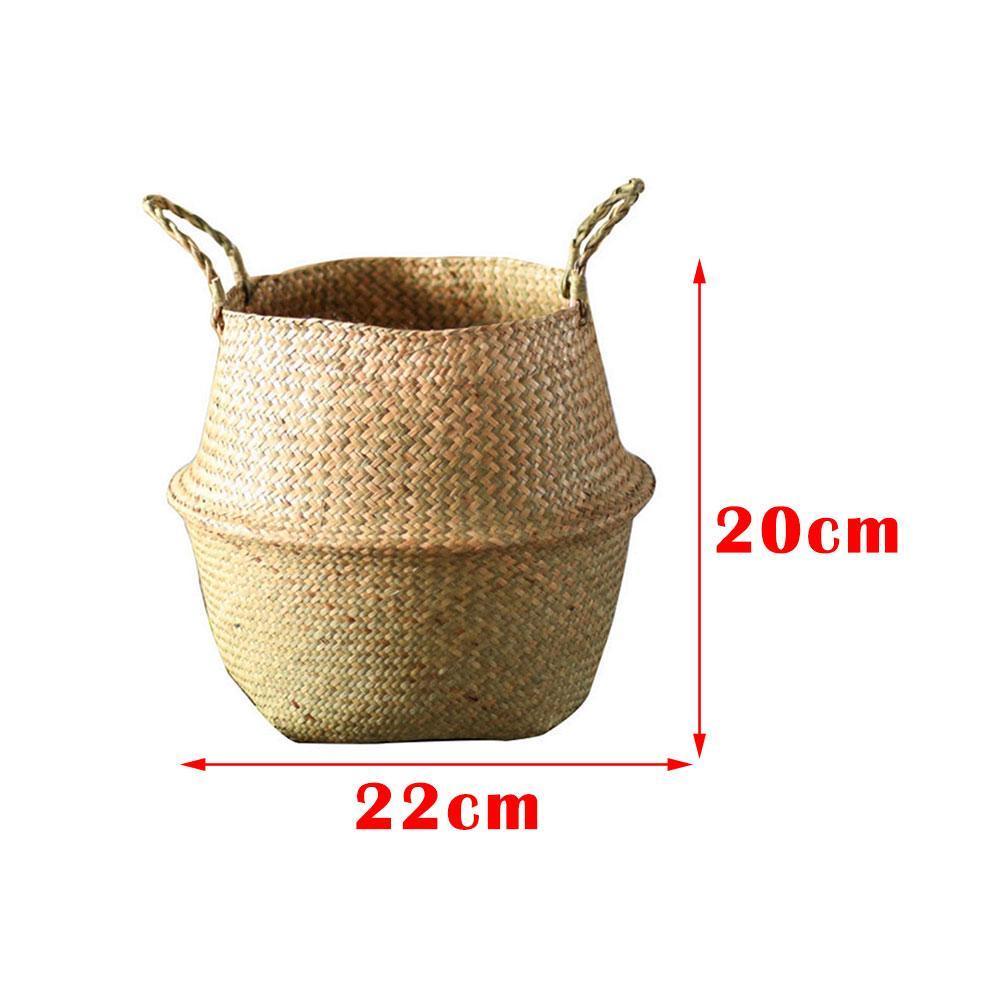 Seagrass Wicker Basket Foldable Nursery Plant Pot Storage Laundry Bag Decor I1G8