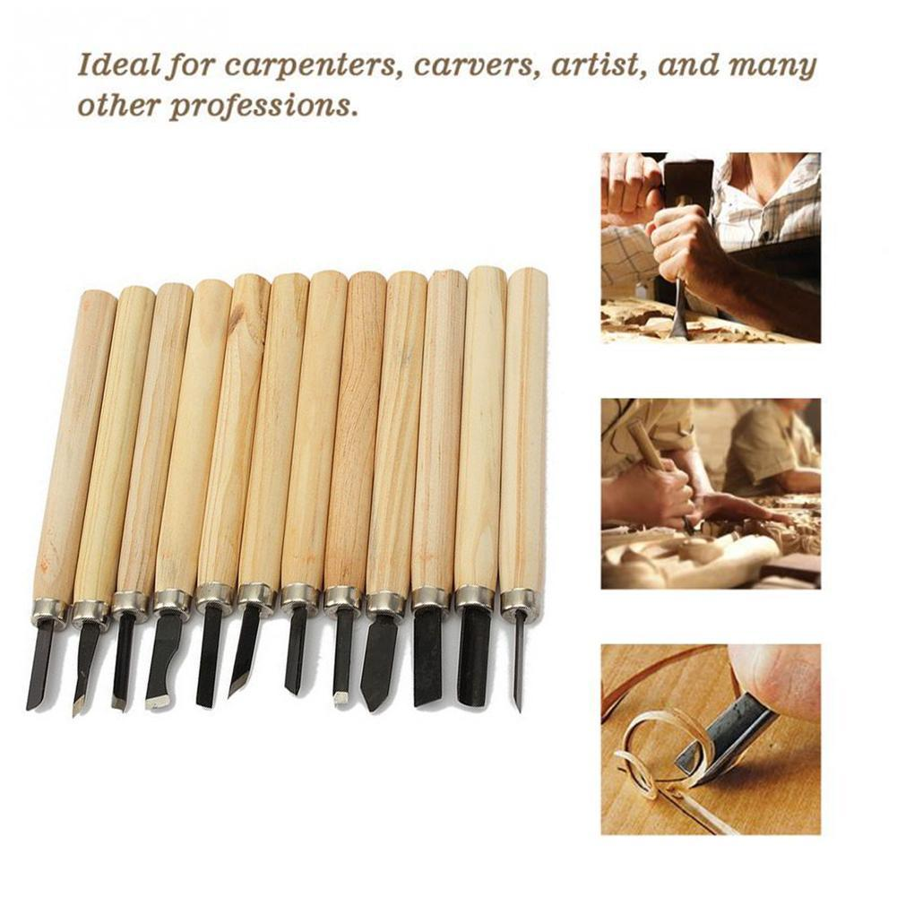 11x Professional Wood Carving Hand Chisel Tool Set Woodworking Gouges Sculpting
