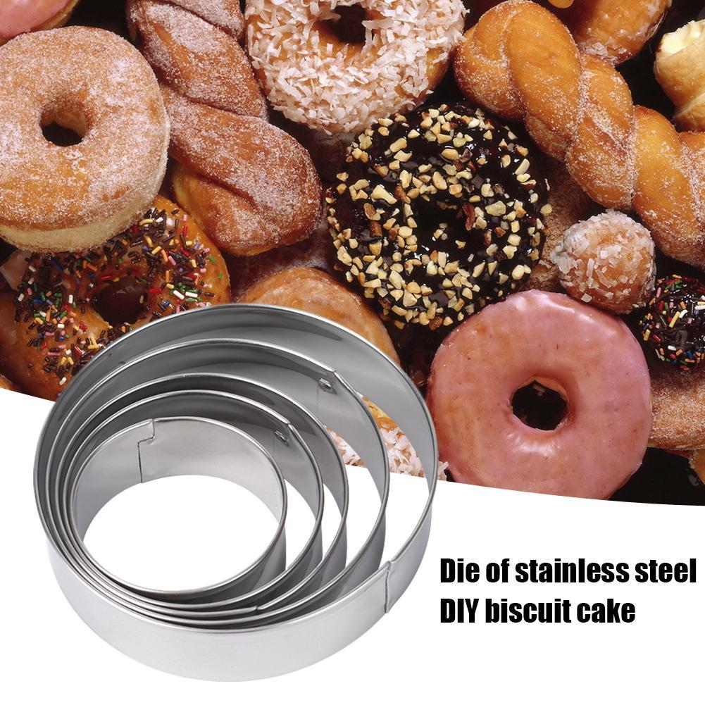 5pcs//set Kitchen Round Circle Stainless Steel Cookie Mould Biscuit Pastry Q1C2