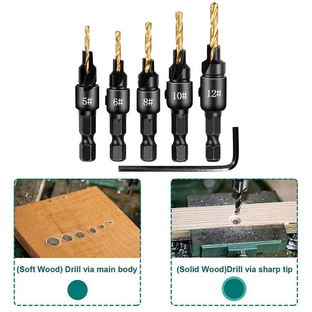 "5Pcs 1//4/"" Hex Shank HSS 5 Flutes 6-12# Carpentry Countersink Drill Bit Set US"