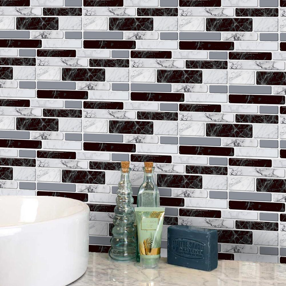 9X 3D Self-adhesive Wall Stickers Kitchen Bathroom Brick Tile Sticker Decor Hot