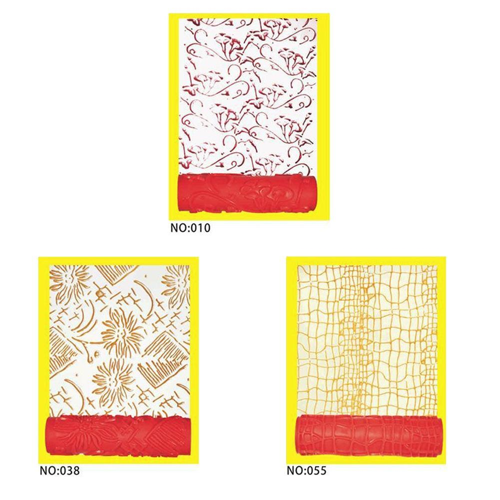 7/'/' Embossed Paint Roller Sleeve Wall Texture Stencil Brush Flower Pattern