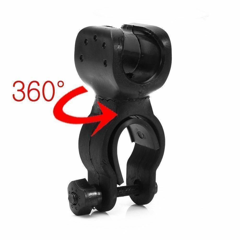 360 Degree Bike LED Flashlight Mount Holder Bicycle Clamp Clip Torch T7J2