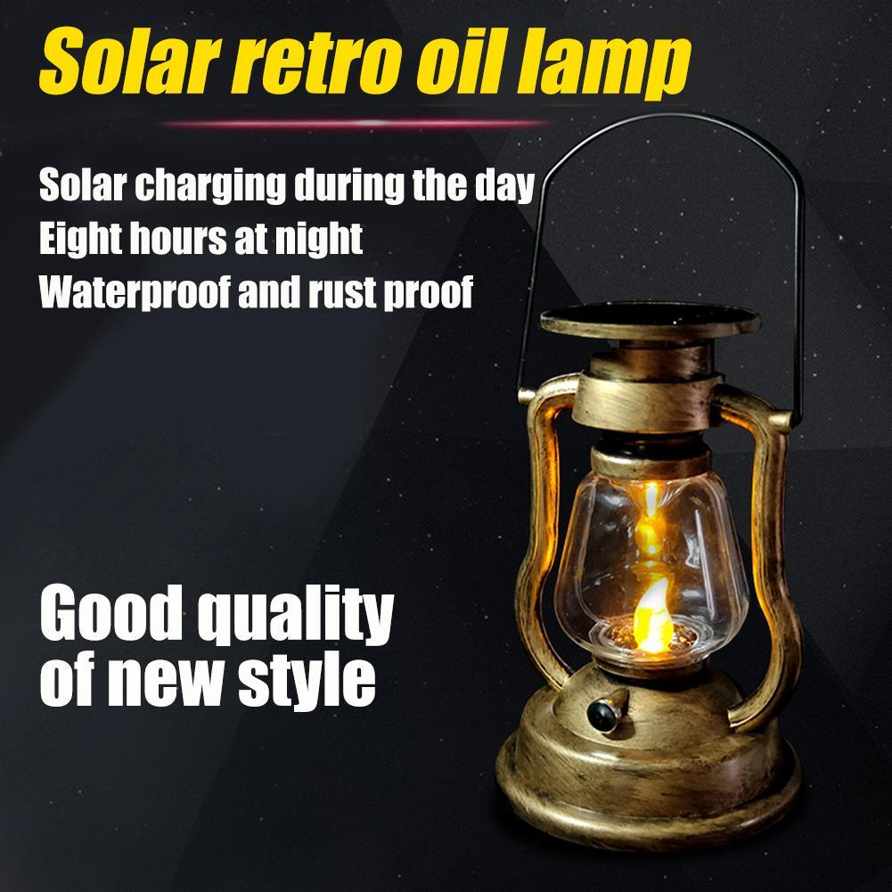 Retro Solar Rechargeable Oil Lamp Outdoor Garden Hanging Lantern Decor C3V6