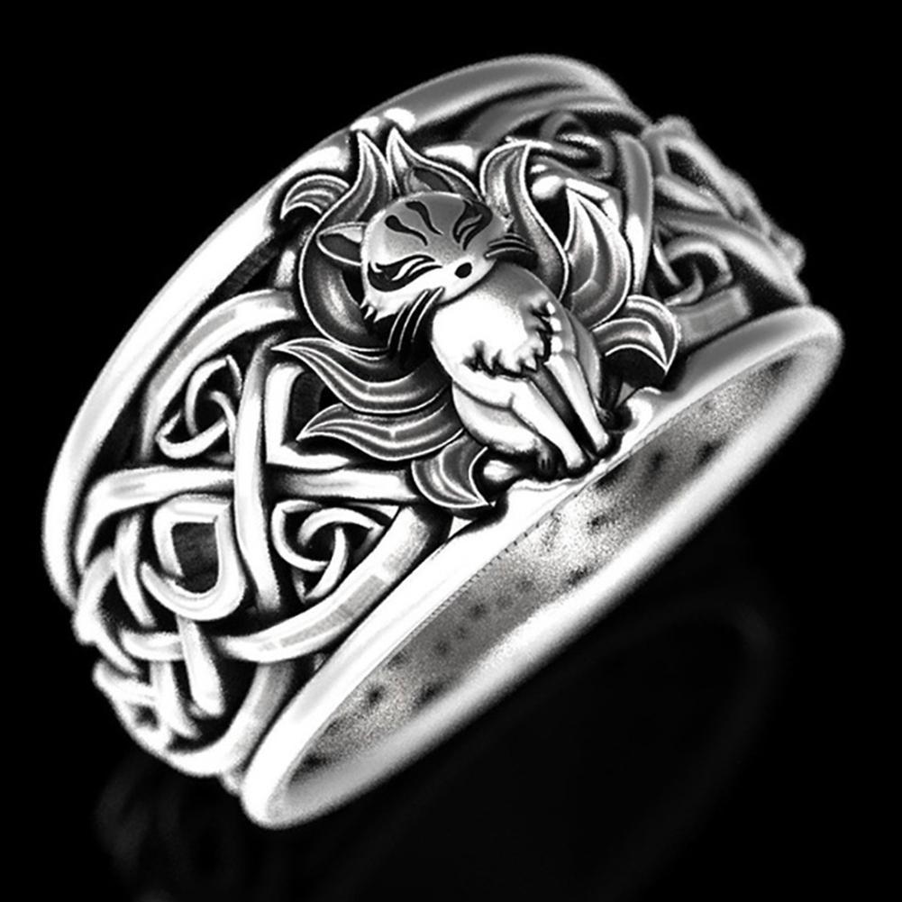 Vintage Silver Viking Fox Ring Men/'s Wedding Band Jewelry T0W5
