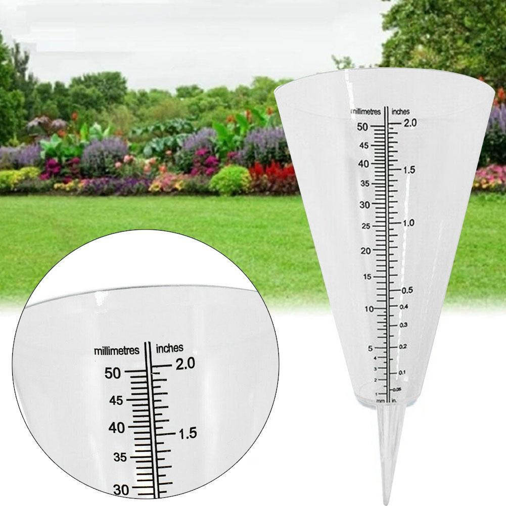 White Transparent Ground Rain Gauge Meter Measure And Collect Rainwater Tool New