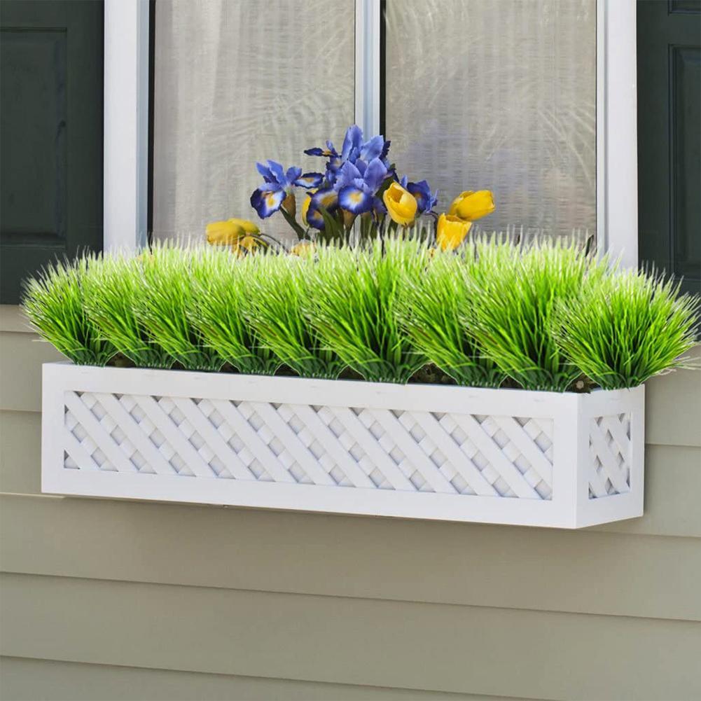 Artificial Flowers Fake False Outdoor Plants Grass Garden Grass 7-Pronged New