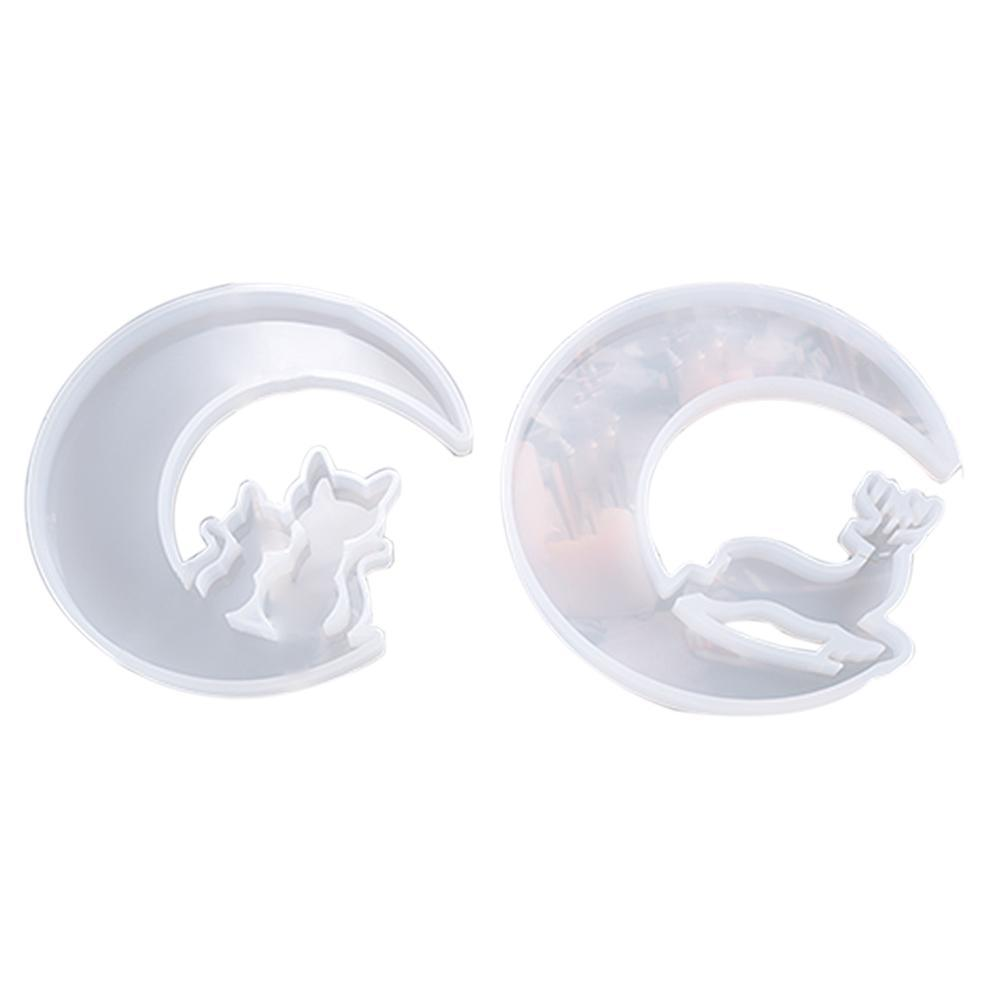 Christmas Moon Deer Cat Silicone Mold Resin Casting Jewelry Epoxy Mould US X1F6