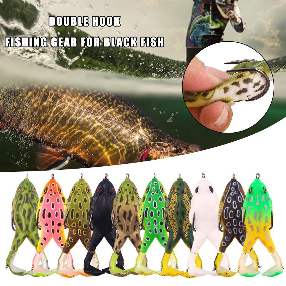 Lifelike Portable Soft Fishing Lures Bass Bait Rubber Frog Double Propellers