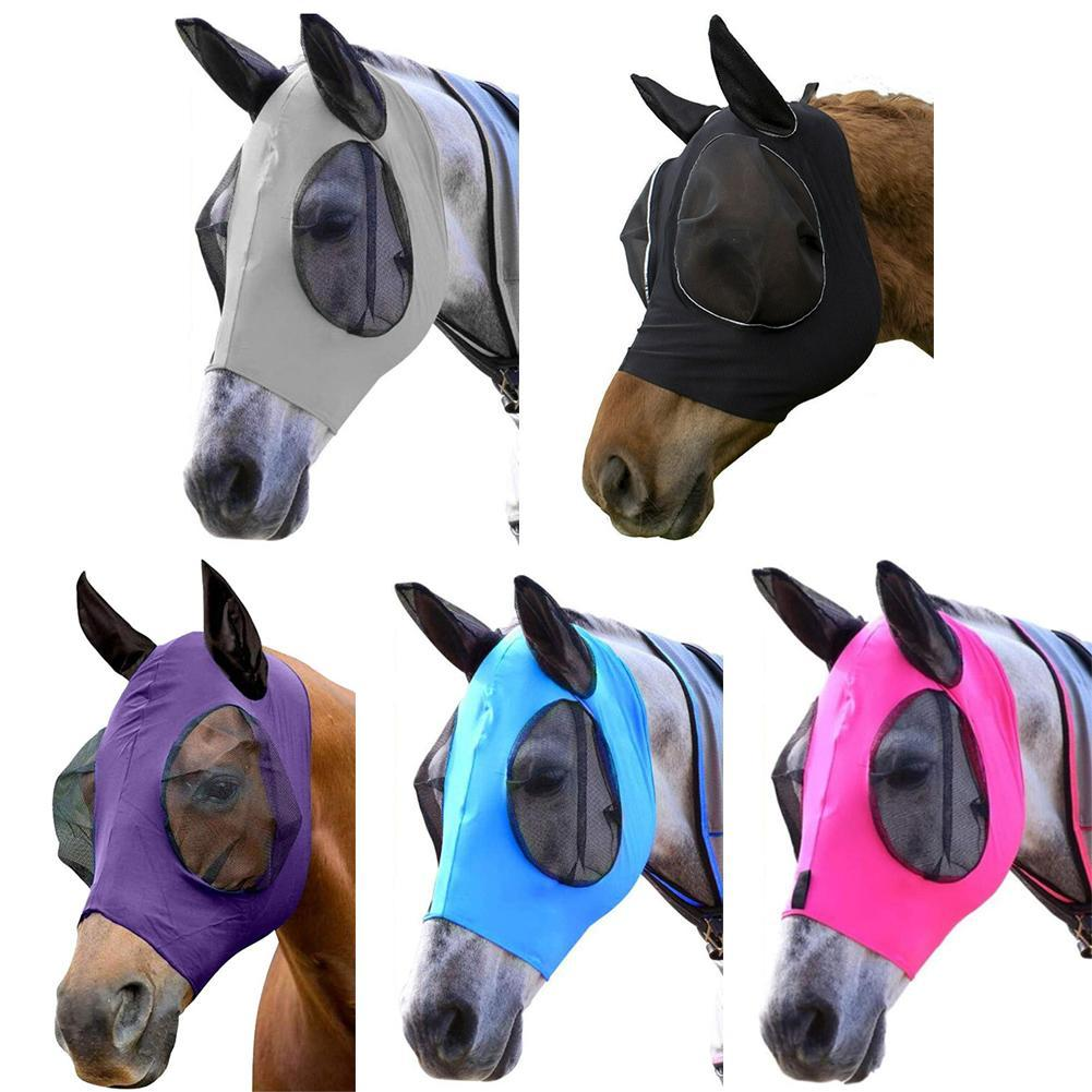 Horse Fly Mask Ears Hood Full Face Mesh Protection Anti-Mosquito Sale Y2M3