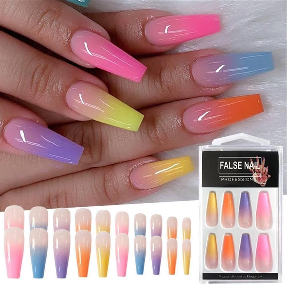 Long Coffin Fake Nails European Rainbow Ballerina Full Nail Tips Art 20pcs Sets Ebay For as long as people have been getting manicures, there have been two primary shapes: usd