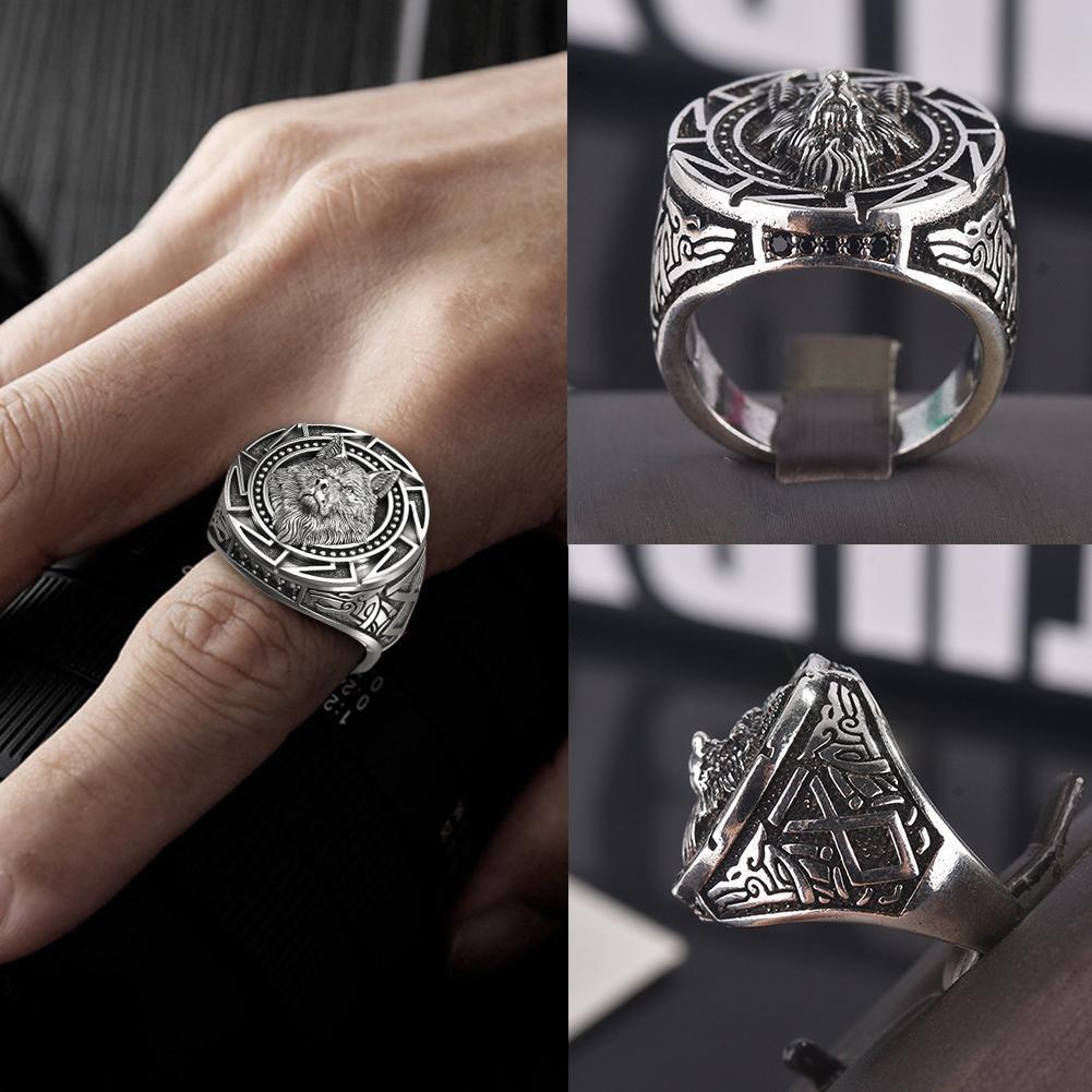 Wolf main Pattern Mens Anneau Personality Fashion Mens Jewelry Silver Fête t7f9
