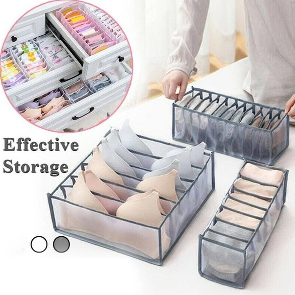 Grey Underwear Bra Socks Ties Drawer Storage Organizer Boxes Closet Divider Tidy