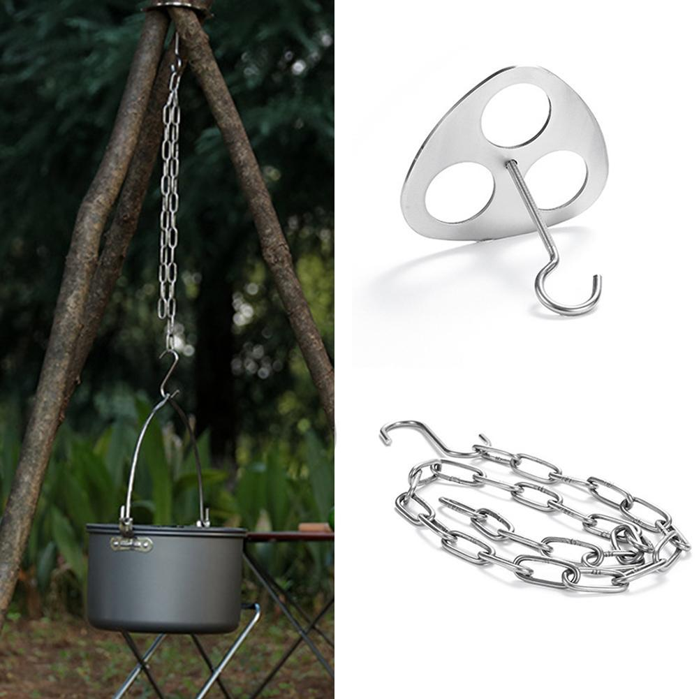 Outdoor Camping Tripod Portable Cooking Campfire Pot n Durable Holder ew S0B2