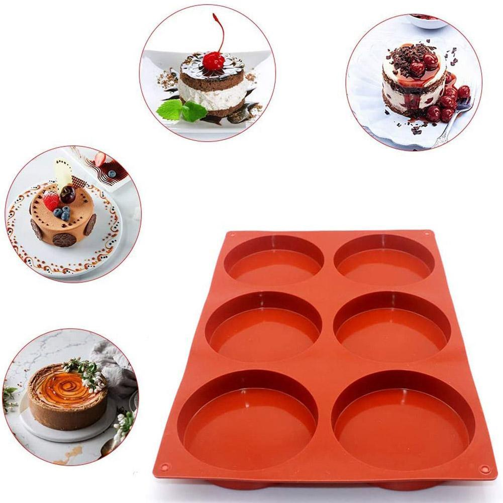 6-Cavity Large Cake Molds Silicone Round Disc Resin Coaster Mold Non-Stick L0Z1