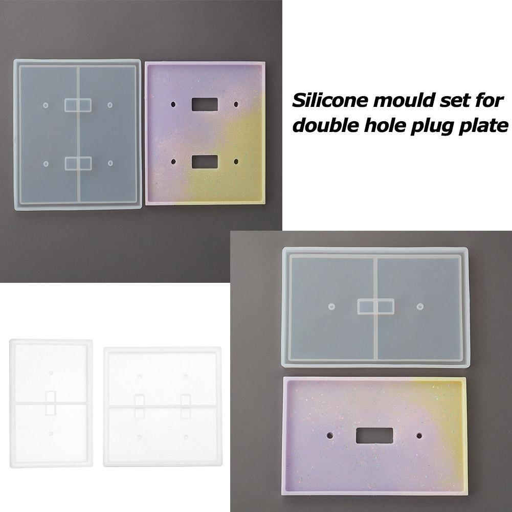 2PCS Wall Switch Socket Panel Epoxy Resin Molds DIY Craft Silicone Casting Mould