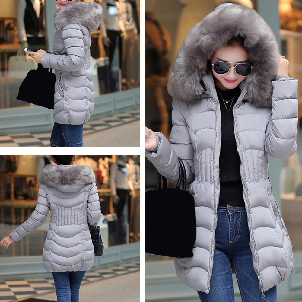 Damen Puffer Jacke Kunstpelz Parka Kapuze Winter Gepolstert Oberbekleidung Warm