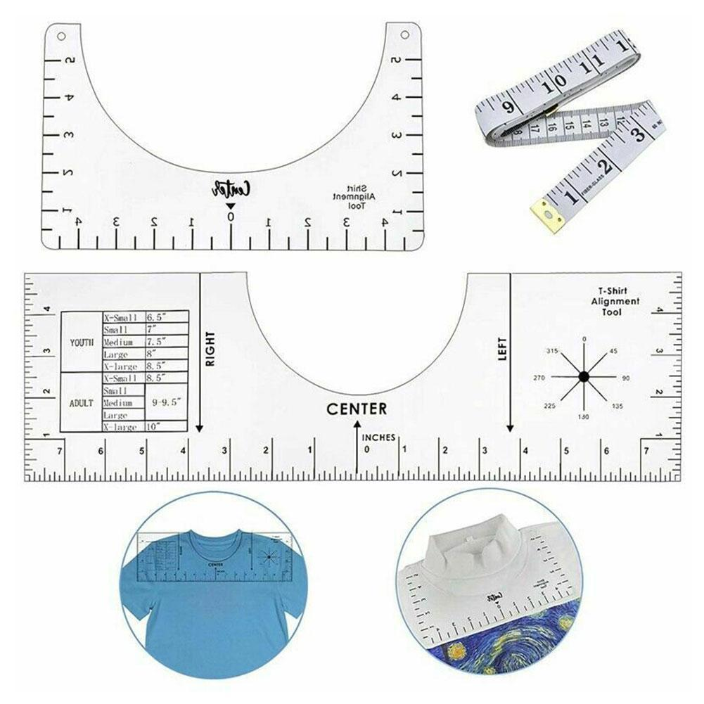 10inch DIY Crafts Fabric Centering Tool Sewing Accessories T-Shirt Alignment Vinyl Rulers Sewing Ruler T-Shirt Guide Ruler