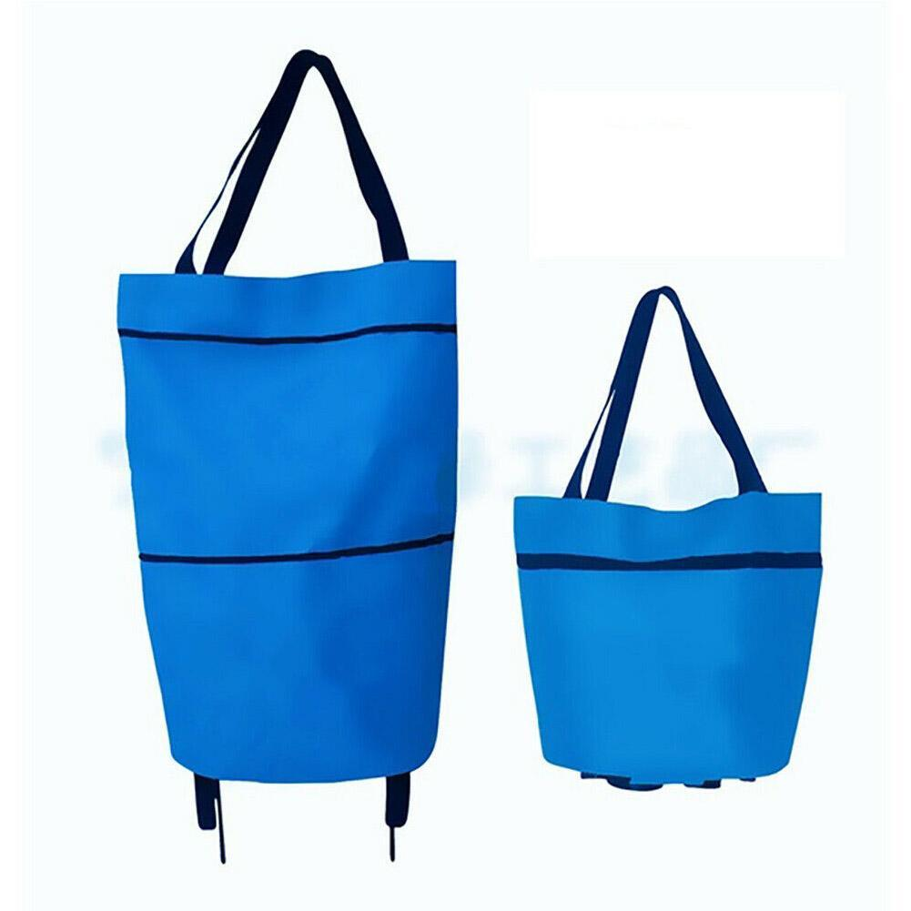 2 In 1 Foldable Shopping Cart With Wheels  Oxford Fabric Multifunction U  S